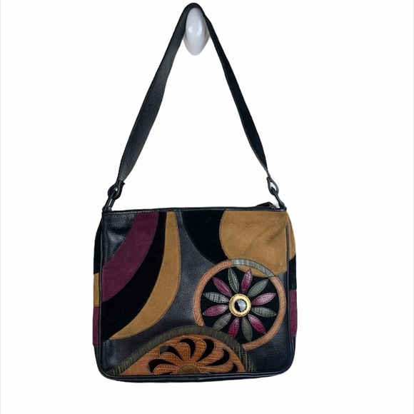 Sharif Studio Leather Floral Shoulder Bag Purse